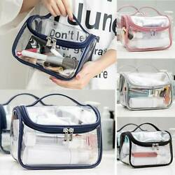 Clear Wash Makeup Bag Travel Cosmetic Transparent PVC Toiletry Pouch Organizer $9.97