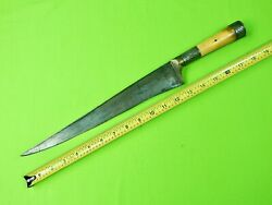 Antique Very Old Turkish Middle East Arabic Gold Engraved Huge Fighting Knife