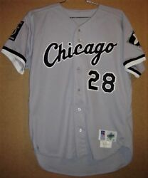 Chicago White Sox Glenn Discarcina 28 Road Button-down Mlb Russell Jersey