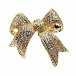 Golden Bow Brooches Micro Pave Victorian Vintage Clear CZ Tinny Stone Antique