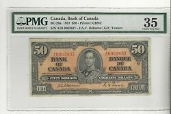 1937 Osborne/towers 50 Note Bc-26a Pmg Vf-35 Sn A/h 0063837