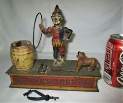 Antique Hubley Toy Us Clown Usa Mechanical Cast Iron Trick Dog Bank Lock Key Keg