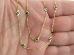 14K Yellow Gold Over Women#x27;s Green Emerald 18quot; Necklace For Party Wear $132.99