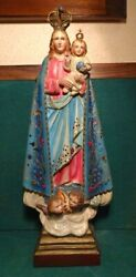Our Lady Of Bonfim Vtg Large 400mm Very Decorated Chalkware Figure Statue