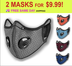 2 Mix Face Masks Breathing Valve Sport Cycling Outdoor Active Carbon Filter