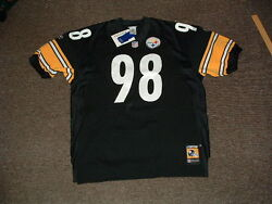 Casey Hampton 98 Pittsburgh Steelers Home Authentic Football Jersey Sz 52 Nwt