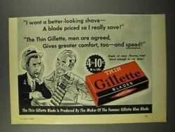 1940 Gillette Thin Blades Ad - A Better-looking Shave