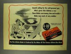 1940 Gillette Thin Blades Ad - Smooth Sailing