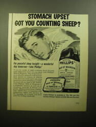 1950 Phillips' Milk Of Magnesia Ad - Stomach Upset Got You Counting Sheep
