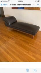 Antique Leather Chaise With Embossed Wood Frame On Wheels