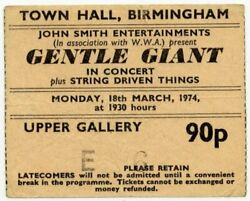 Gentle Giant String Driven Thing Town Hall Birmingham 18374 Ticket