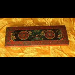 Rare Old Antique Tibet Buddhism Painted Thangka ZbazarMandala Wood Sutra Cover