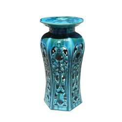 Ceramic Clay Turquoise Round Tall Pedestal Table Flower Display Stand Cs5809