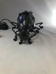 Butterfly Stained Glass Lamp 10in Table Light Metal Style Snail And Bug