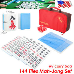 144 Tiles Mah-jong Set Game With Carry Bag Green Blue Portable Chinese Gift