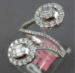 Large 1.06ct Diamond 18k White Gold Round And Baguette Invisible Criss Cross Ring