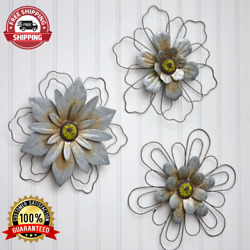 Sets Of 3 Rustic Galvanized Hanging Wall Flowers Indoor Outdoor Decor Accent NEW