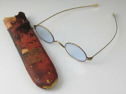 Antique Spectacles Glasses Circa 1875 14K Pebble Crystal With Original Case $1,995.00