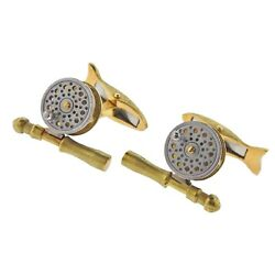 Deakin And Francis Gold Rotating Fishing Reel Cufflinks
