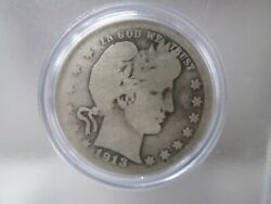 1913 S Us Barber Silver Quarter 25 Cent Coin Key Date