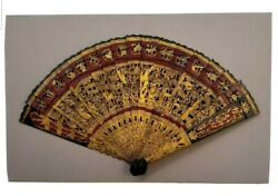 Antique Chinese Hand Painted Carved Wooden Fan Wall Decor - Intricate Designs
