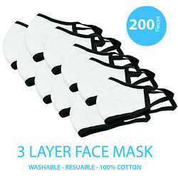 200 Packs White 100 Cotton Three Layer Adult Face Mask - Reusable Washable