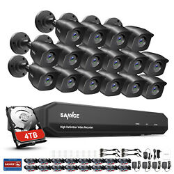 Sannce Hd 1080p Outdoor Cctv Camera 16ch 5in1 Dvr Night Vision Home Security Kit