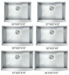 Single Bowl Stainless Steel Apron Farm Sink Curved Front 16 Gauge Various Sizes