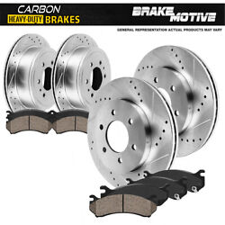For Cadillac Chevy Gmc Front+rear Drill Slot Brake Rotors + Carbon Ceramic Pads