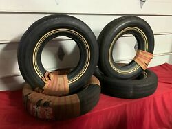 Nos Set Of 4 Fisk Tires 8.25-14 Super Safety Flight White Wall Ford Dodge Chevy