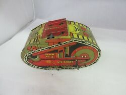Vintage Childs Tin Toy Marx Tank Corps Wind Up Works  958