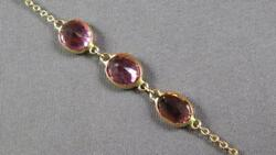Estate 5.24ct Aaa Light Pink Ruby 14kt Yellow Gold Oval By The Yard Fun Bracelet