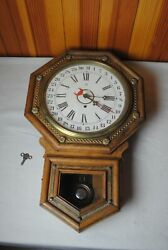 Antique Wood And Brass Octagonal Waterbury Wall Clock