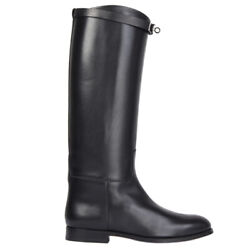 56728 Auth Hermes Blackbox Leather Jumping Boots Shoes 40.5