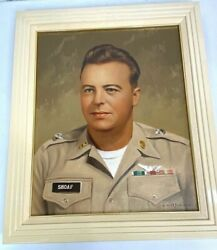 Vintage Us Army Chief Warrant Officer Pilot Framed Oil Painting Portrait