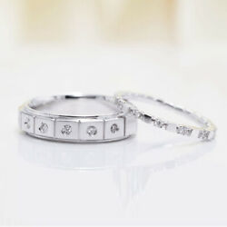 14k White Gold Natural Diamond Round Cut 0.31 Ct Couple Band All Size Available