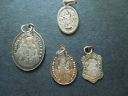 J2295 Antique/vtg Religious  French Sterling Silver Medals 4 X