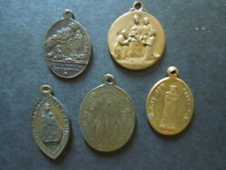 J2298 Antique Religious  French  Medals  5 X