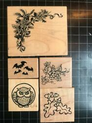 Vintage PSX Rubber Stamps lot of 5 AUTUMN FALL THEMED free USA ship mntd $16.95