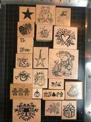 Vintage PSX Rubber Stamps lot of 20 CHRISTMAS THEMED free USA ship mntd $37.95