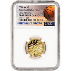 2020-w Us Gold 5 Basketball Commemorative Proof Ngc Pf69 Early Releases