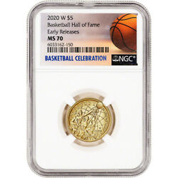 2020-w Us Gold 5 Basketball Commemorative Bu Ngc Ms70 Early Releases