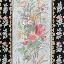 Antique French fabric gray with black and pink floral roses stripe cotton