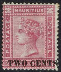 Mauritius 1891 Qv Two Cents On 17c