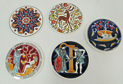 Greek Drink Coasters 5pc Set Greece Art Tiles Hand Made By Niarchos Bar Table