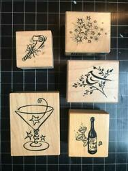 Vintage PSX Rubber Stamps lot of 5 NEW YEAR#x27;S THEMED free USA ship mntd $15.95