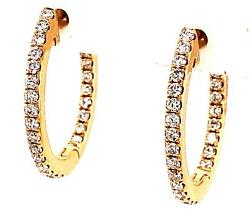 .83ct Diamond 18kt Yellow Gold 3d Classic Inside Out Oval Hoop Hanging Earrings
