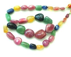 Best Grade L Size 23mm Oval Mixed Ruby Emerald Sapphire Large Gemstone Beads