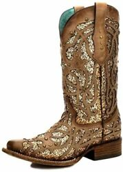 Corral Boots Womens C3275 Casual Western Cowboy Shoes, 10, Brown/orix Glitter