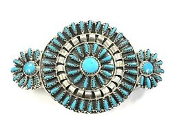 Native American Sterling Silver Navajo Handmade Cluster Turquoise Hair Barrette $150.00